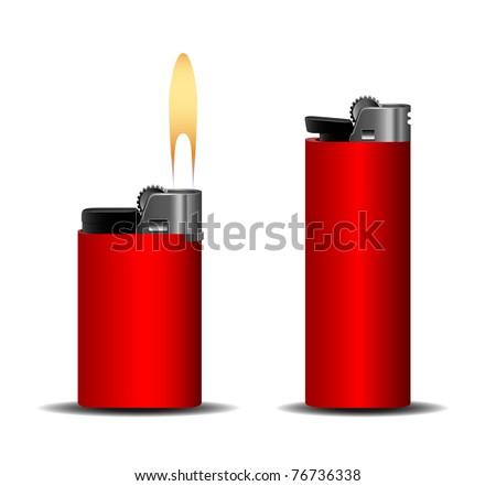 Red lighter set eps10 - stock vector
