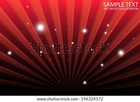 Red lights spreading background illustration - Vector burst of sparkles background template - stock vector