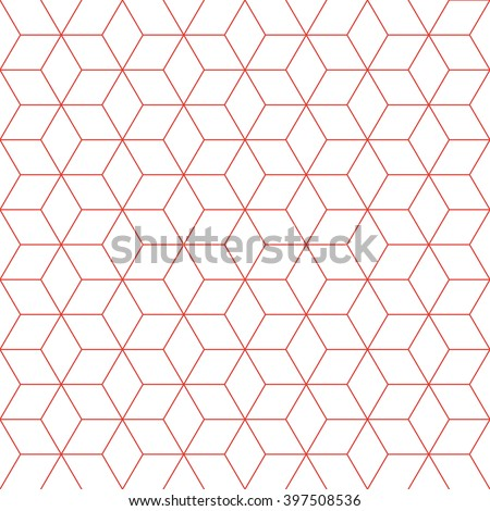 Red line cube pattern background. Vintage retro vector design element. - stock vector
