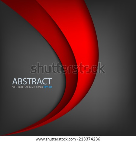 Red line on black grey background overlap layer paper for text and message modern website design - stock vector