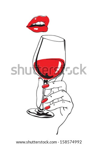 Red lips flirting over a wineglass - stock vector