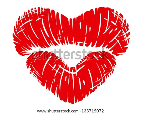 Red lips print in heart shape isolated on white background. Jpeg (bitmap) version also available in gallery - stock vector