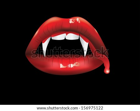 Red lips, white fangs with blood on black background. - stock vector