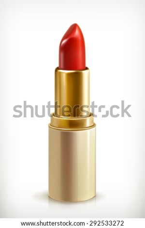 Red lipstick, beauty and make up vector icon - stock vector