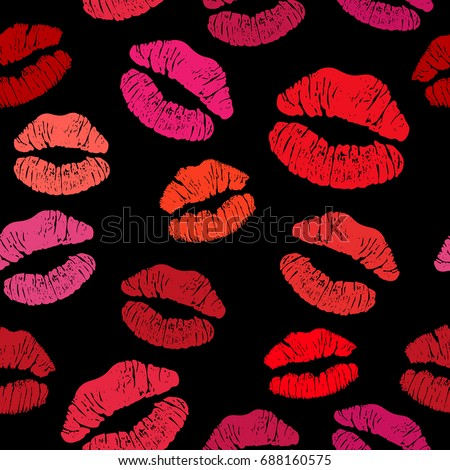 Red Lipstick Kiss Seamless Pattern Female Stock Vector ...