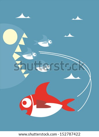 Red little fish swimming away from big fish ,Vector cartoon business