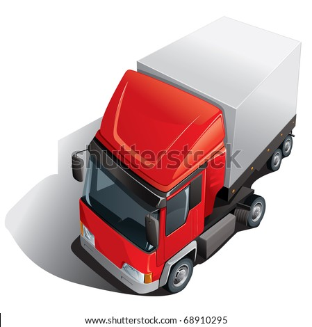 red loading truck - stock vector