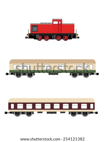 Red locomotive and two wagons vector set, children toy, transportation icons  - stock vector