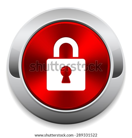 Red login button with metal border - stock vector