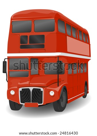 Red London Routemaster Bus Illustration on White - stock vector