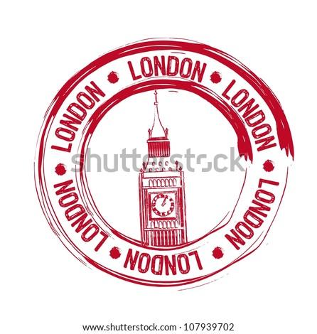red london stamp over white background. vector illustration - stock vector