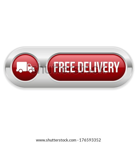 Red long free delivery button with metallic border
