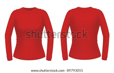 Red long sleeve female shirt - stock vector