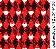 Red Love Valentin's Day, harlequin seamless background with rhombus and hearts - stock vector