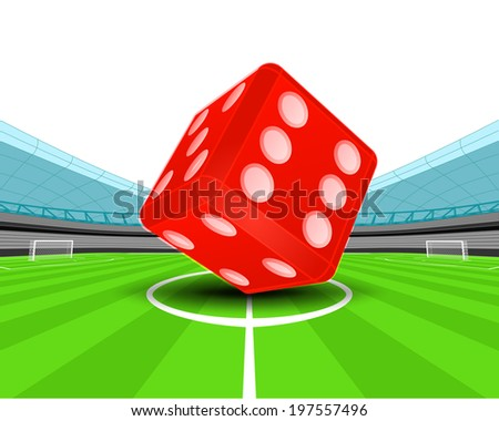 red luck dice in the midfield of football stadium vector illustration - stock vector