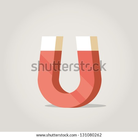 Red magnet clip art - stock vector