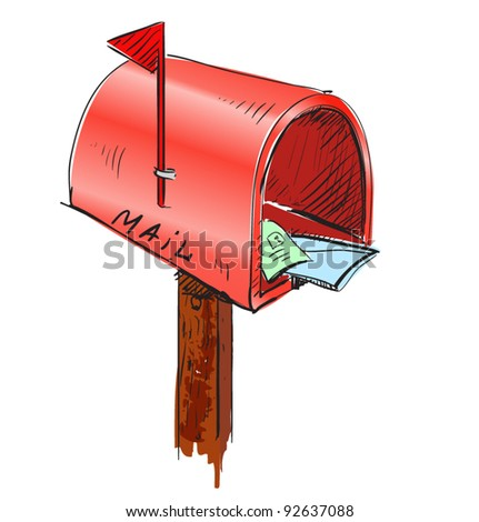 Red mailbox cartoon icon. Sketch fast pencil hand drawing illustration in funny doodle style. - stock vector
