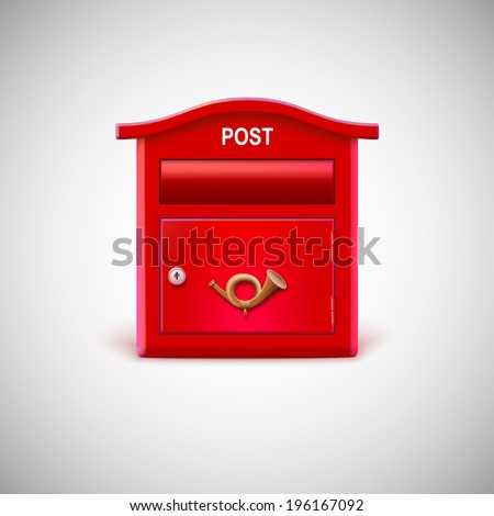 Red mailbox with the postal horn. Vector icon. - stock vector