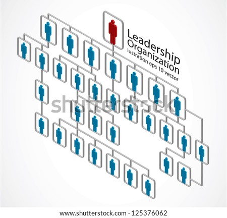 red man, leadership organization on white - stock vector