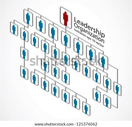 red man, leadership organization on white - stock vector