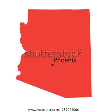 red map of Arizona with indication of Phoenix - stock vector