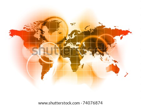 red map of the world - stock vector