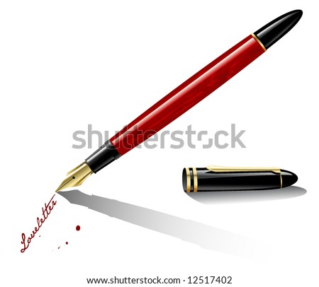 red marbled fountain-pen writing with red ink - stock vector