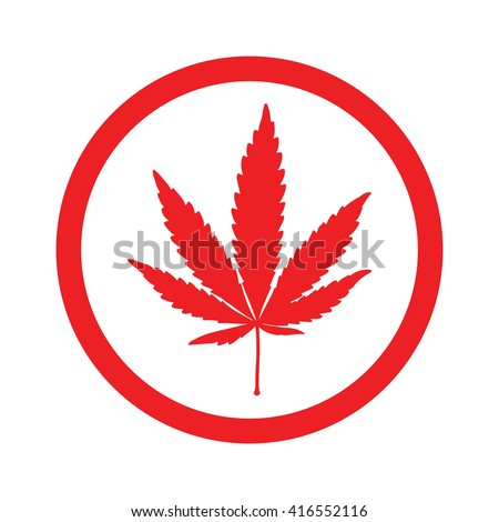Red marijuana leaf in circle icon vector illustration - stock vector