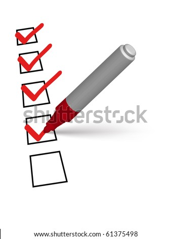 red marker putting ticks on the white paper - stock vector