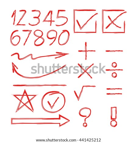 red math sign, arrows and number