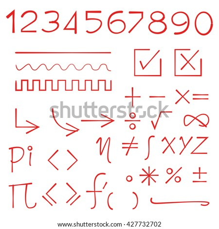 red math sign, number, check list