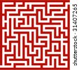 Red maze - stock photo
