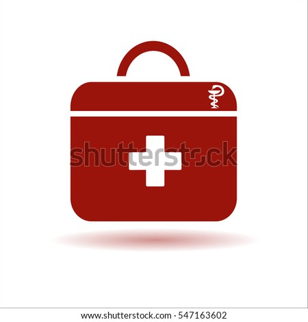 Red medical bag with a white background