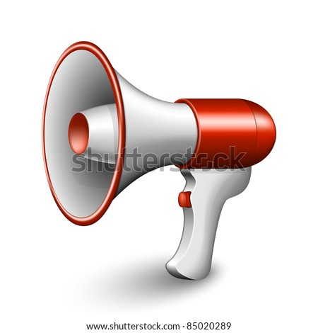 Red Megaphone Icon. Vector Illustration - stock vector