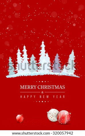 Red Merry Christmas and Happy New Year card with abstract snowy trees, Christmas balls and place for your text - vector illustration - stock vector