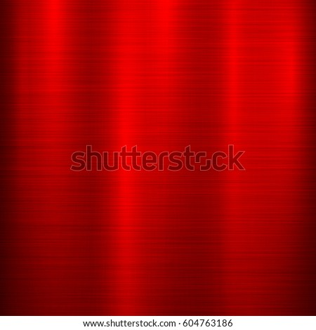 Red Metal Abstract Technology Background With Polished, Brushed Texture,  Chrome, Silver, Steel