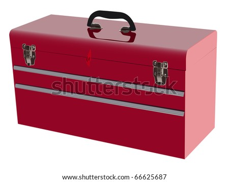 red metal tool box with three - stock vector
