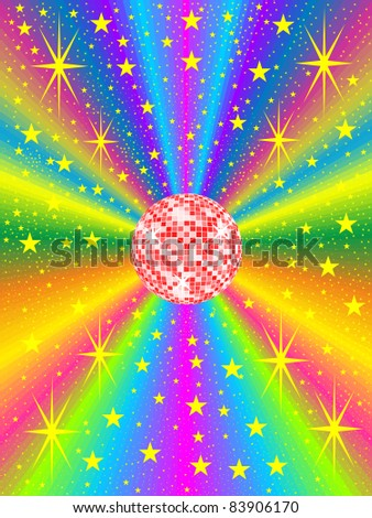 red mirror ball with colored background - stock vector