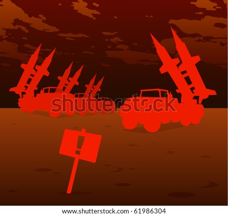 red missile warfare - stock vector