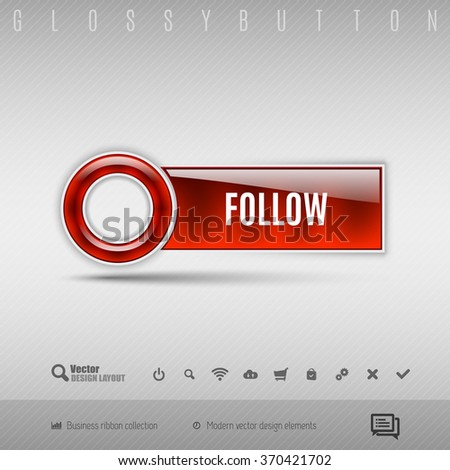 Red modern plastic button with circle on the gray background. Vector design element. - stock vector