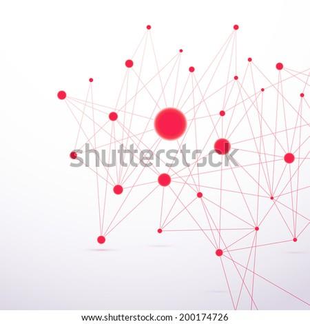 Red molecular connection hi-tech structure. Vector illustration - stock vector