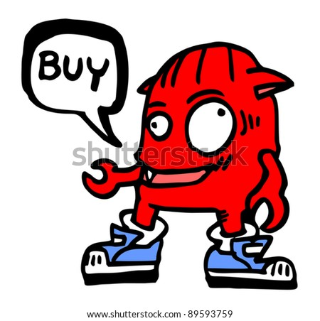 Red monster with buy message