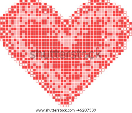 red mosaic heart vector card