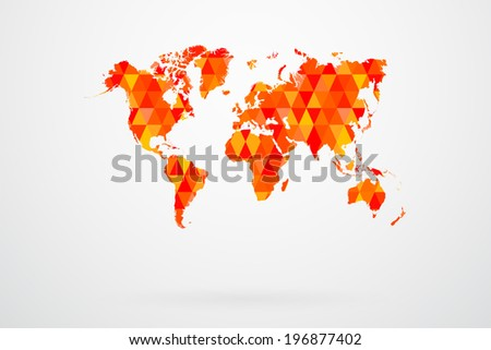 Red Mosaic Tiles World Map Vector Abstract - stock vector