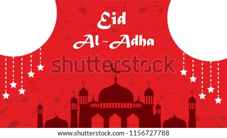 Red Mosque Background Special Eid Al Adha Mubarak Vector Illustration EPS 10