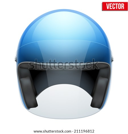 Red motorbike classic helmet with clear glass visor. Vector illustration isolated on white background, - stock vector