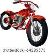 Red motorcycle with fiery drawing - stock photo