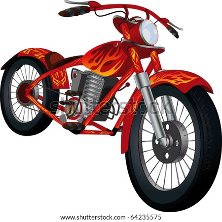 Red motorcycle with fiery drawing