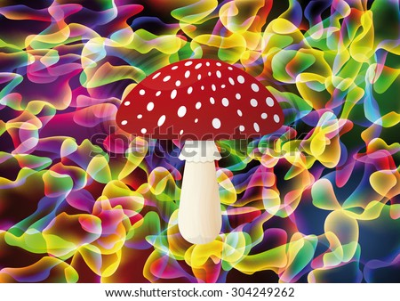 Red mushroom on colorful background, Vector illustration - stock vector