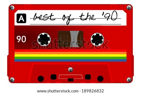 Red musiccasette with colorful stripes, cassette tape, vector art image illustration, isolated on white background, eps10 - stock vector